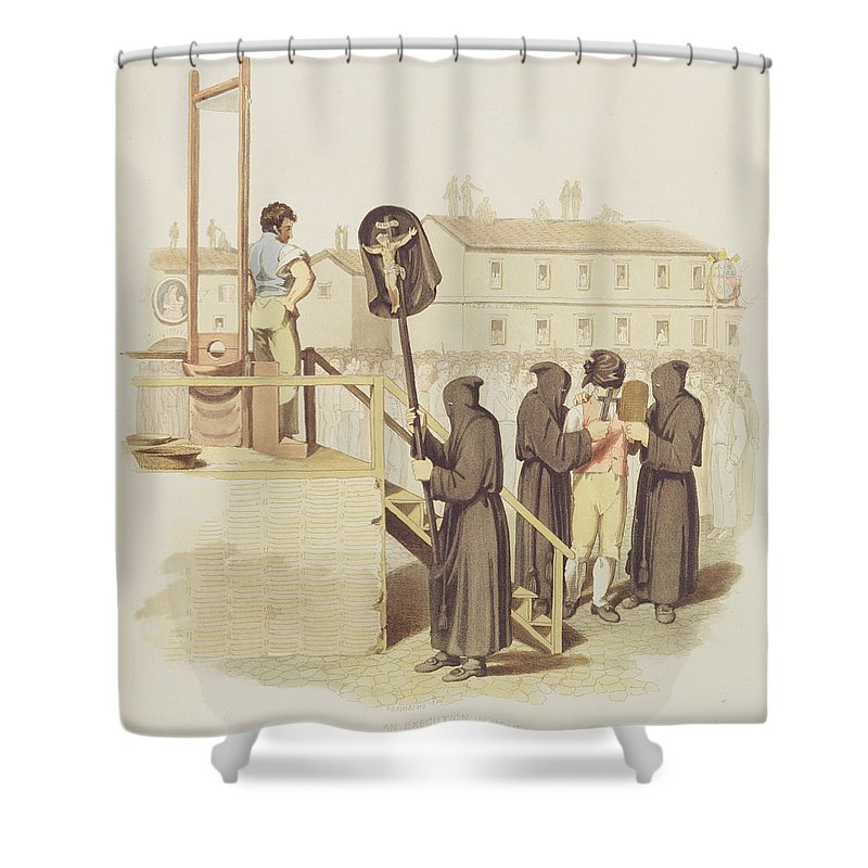 Scaffolding Shower Curtain Featuring The Drawing An Execution In Rome For Murder 1820 By Richard
