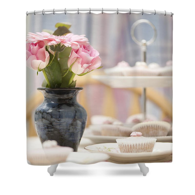 Afternoon Shower Curtain featuring the photograph An Invitation To Indulge by Anne Gilbert