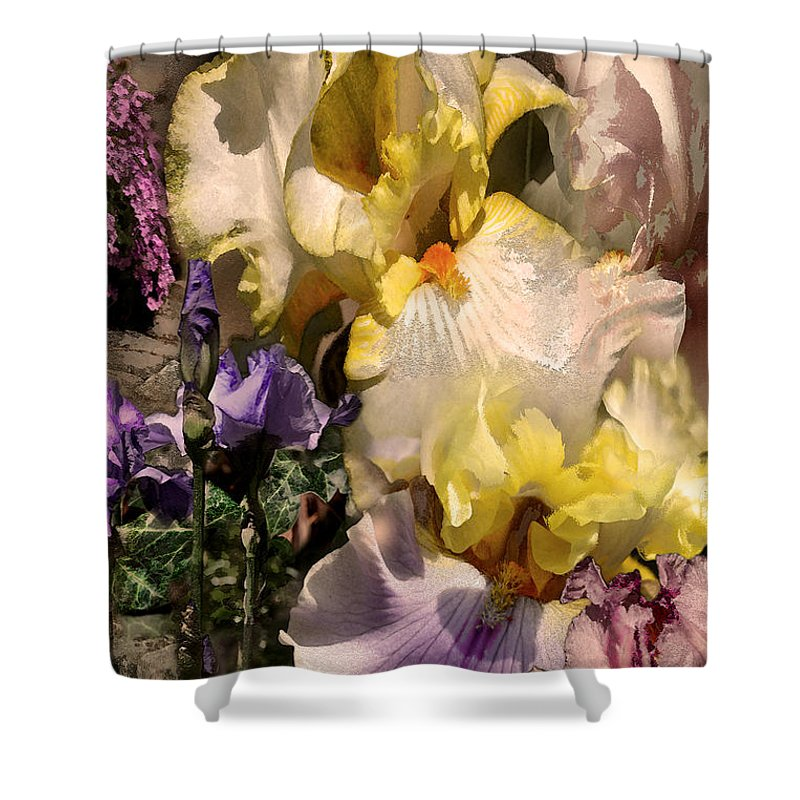 Flowers Shower Curtain featuring the digital art An Iris Surprise Right by Paul Gentille