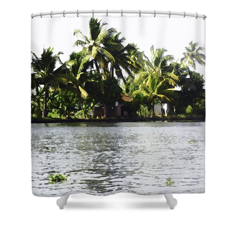 Alleppey Shower Curtain featuring the digital art An Isolated Cottage On A Small Piece Of Land by Ashish Agarwal