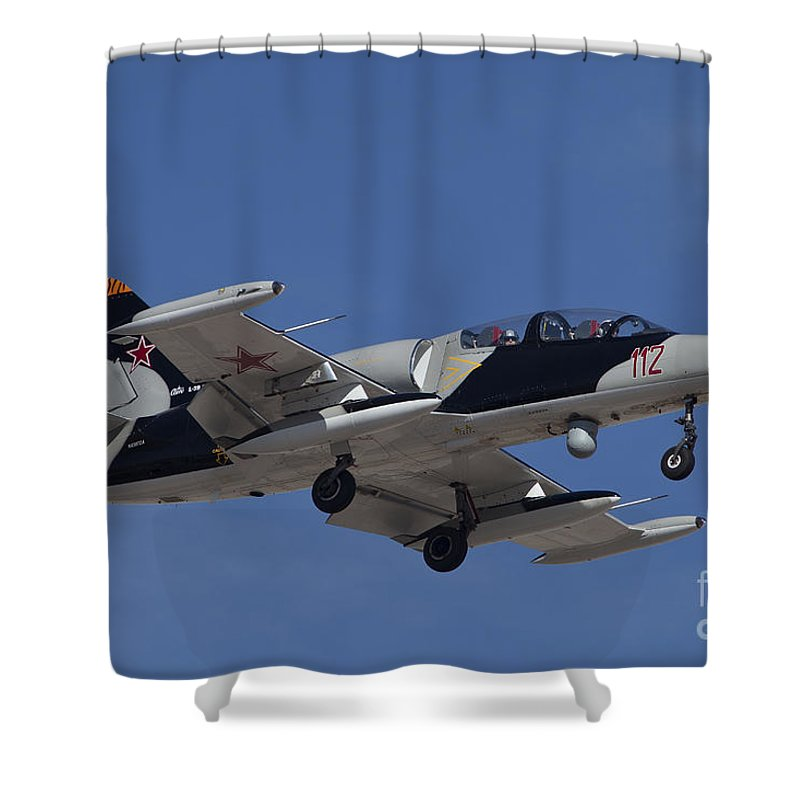 Horizontal Shower Curtain featuring the photograph An L-39za Albatros Used As A Threat by Timm Ziegenthaler