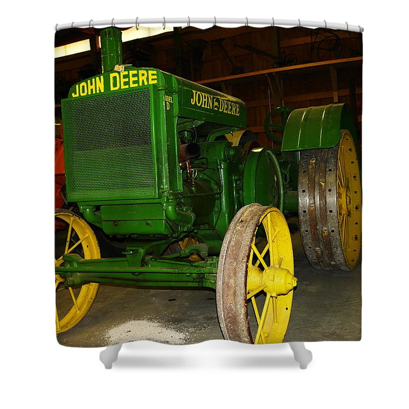 Tractor Shower Curtain featuring the photograph An Old Restored John Deere by Jeff Swan