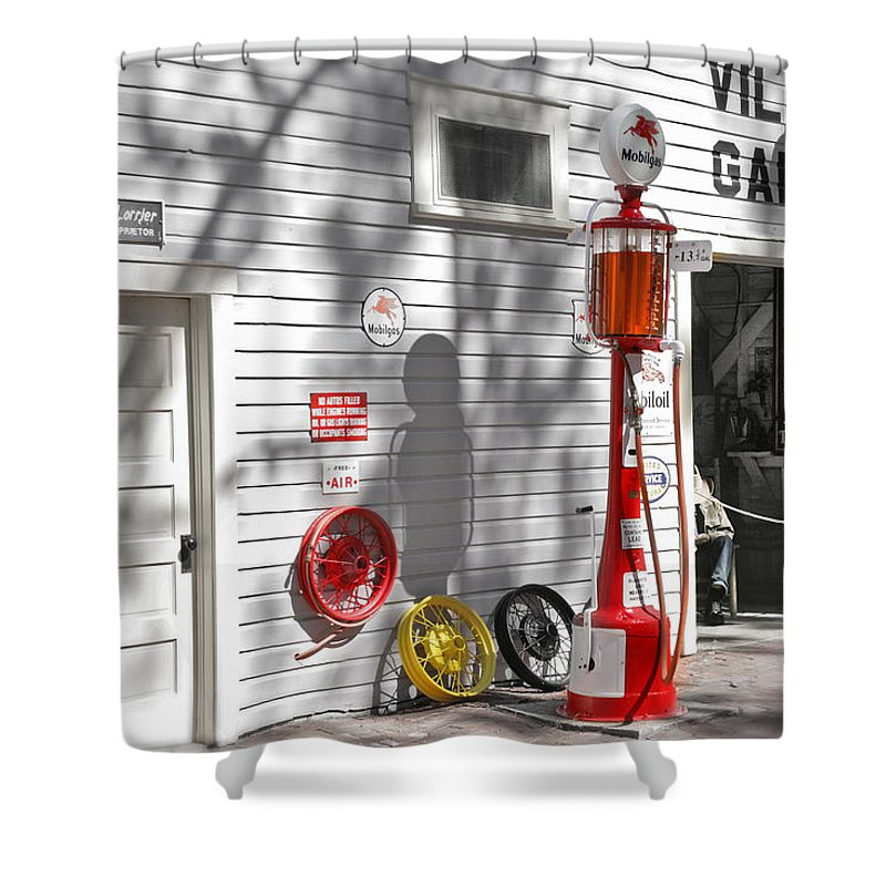 Garage Shower Curtain featuring the photograph An Old Village Gas Station by Mal Bray