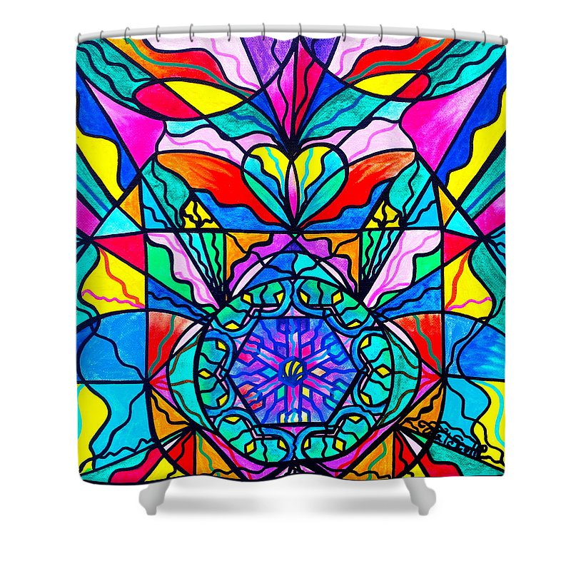 Vibration Shower Curtain featuring the painting Anahata by Teal Eye Print Store