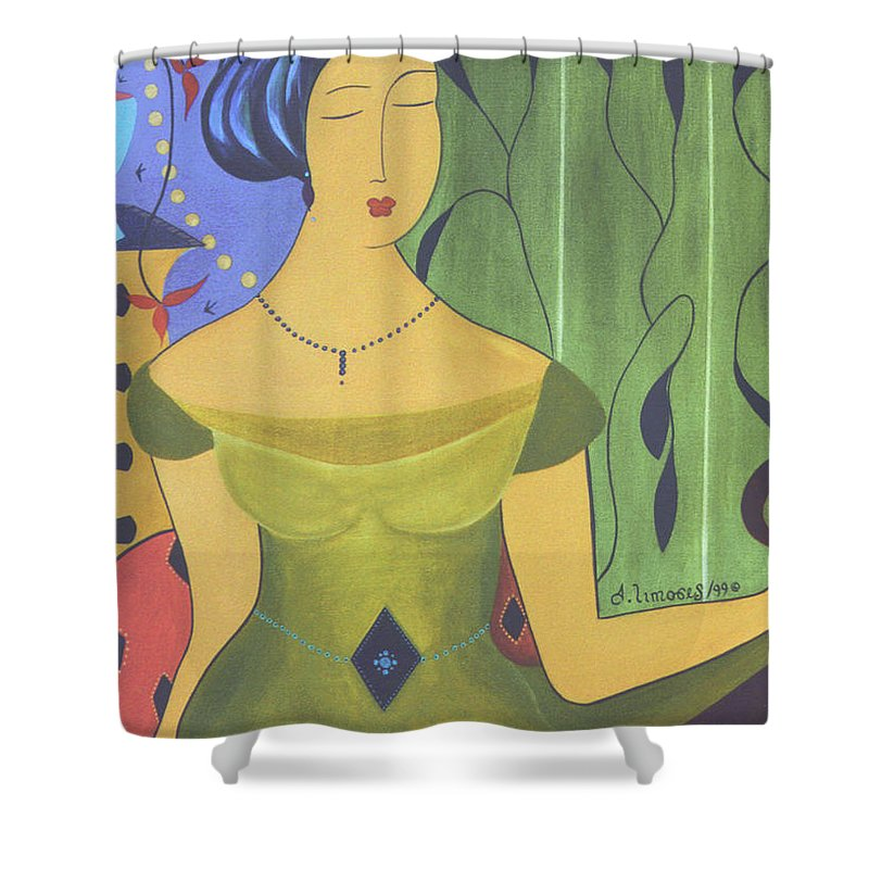 #female Shower Curtain featuring the painting Ancient Beauty by Jacquelinemari