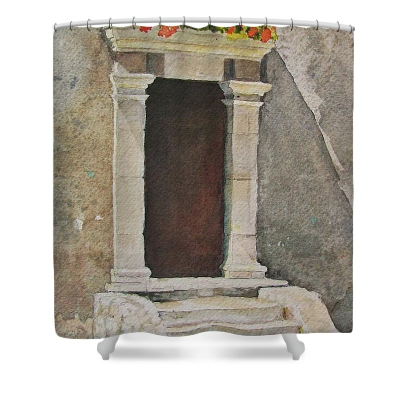 Antique Doorway Shower Curtain featuring the painting Ancient Doorway by Mary Ellen Mueller Legault