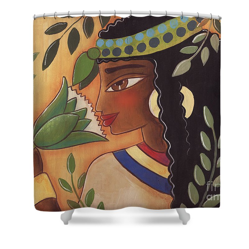 Ancient Egyptian Shower Curtain featuring the painting Ancient Egyptian Belle by Elaine Jackson