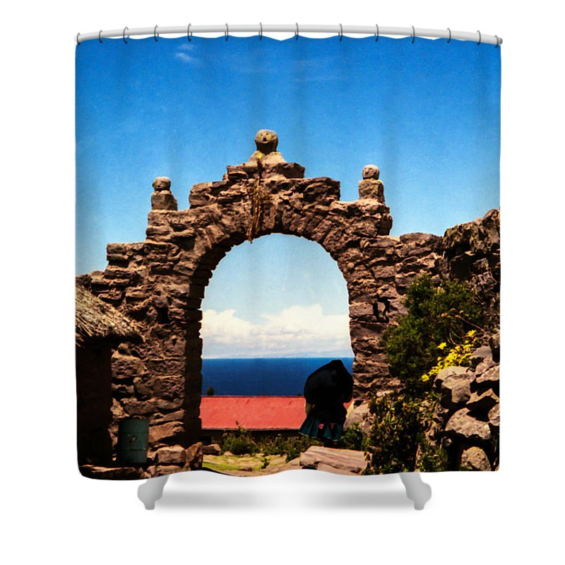 Taquile Island Shower Curtain featuring the photograph Ancient Portal by Suzanne Luft