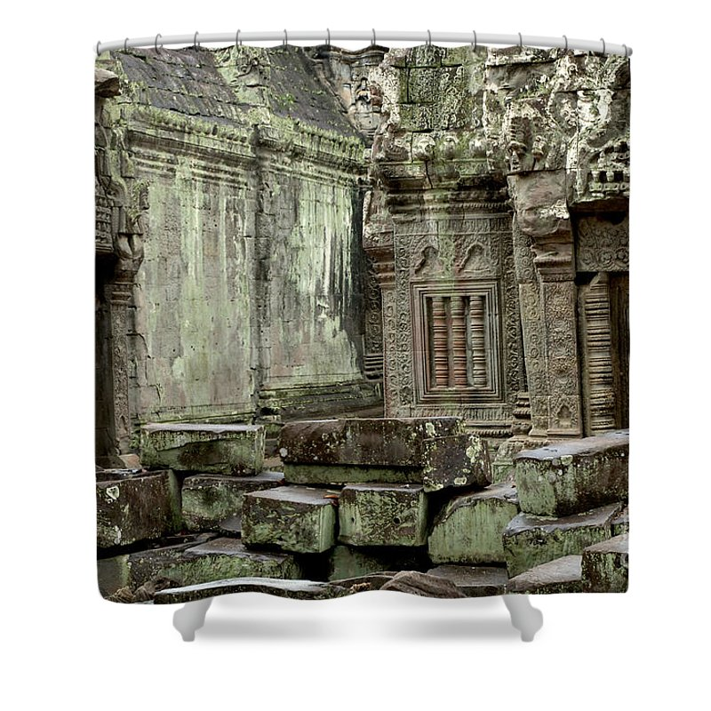Travel Shower Curtain featuring the photograph Ancient Ruins Cambodia by Bob Christopher