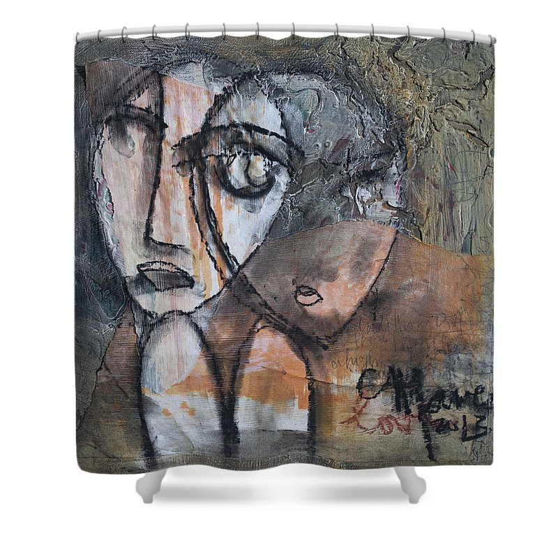 Figure Shower Curtain featuring the painting And I Knew It Was Love by Laurie Maves ART