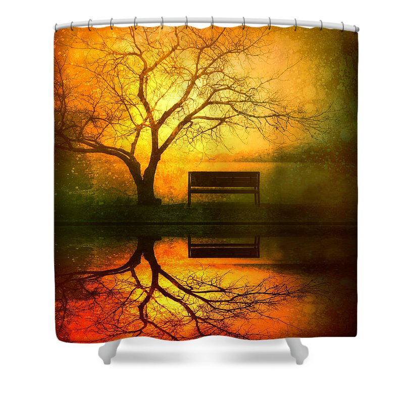 Bench Shower Curtain featuring the photograph And I Will Wait For You Until The Sun Goes Down by Tara Turner