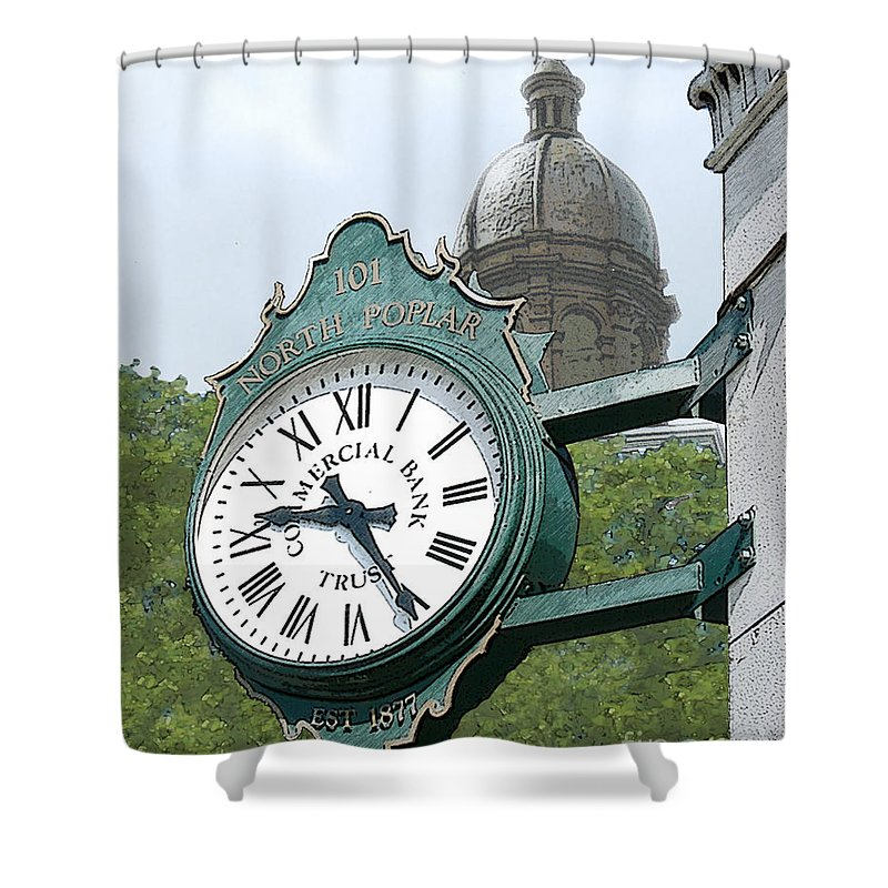 Clock Shower Curtain featuring the photograph And The Time Is by Lee Owenby