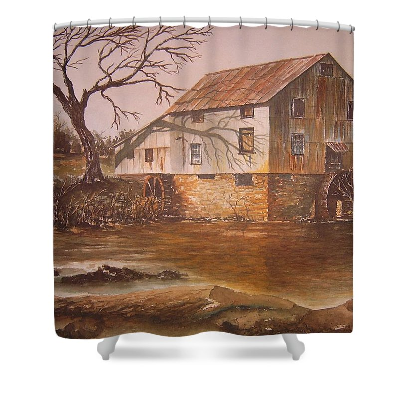 Landscape Shower Curtain featuring the painting Anderson Mill by Ben Kiger