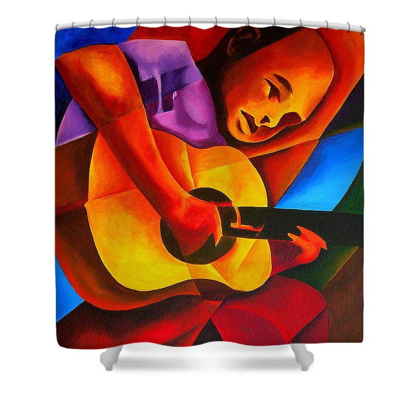 Male Shower Curtain featuring the painting Andres by Patricia Brintle