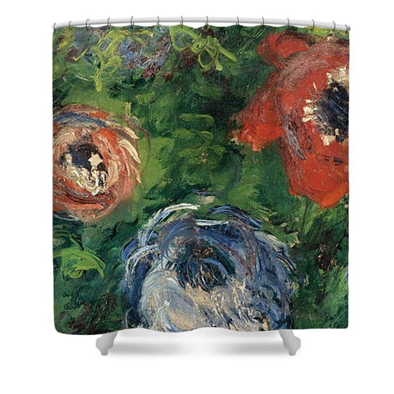 Claude Monet Shower Curtain featuring the painting Anemonies by Claude Monet