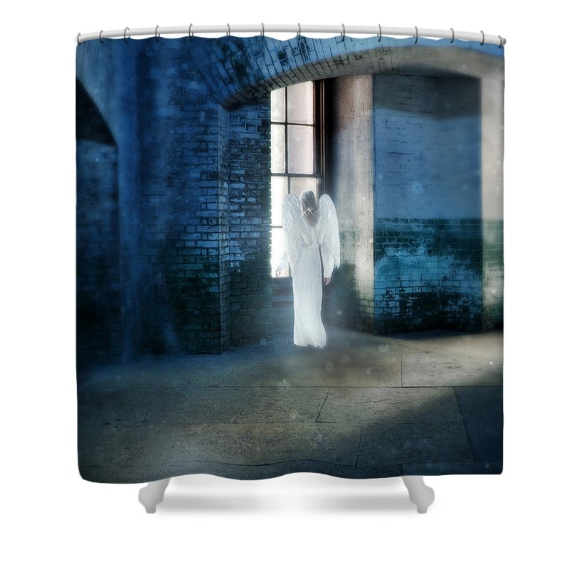 Angel Shower Curtain featuring the photograph Angel At Window by Jill Battaglia