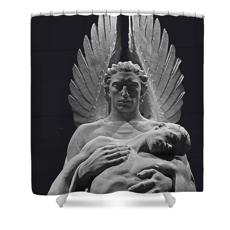 Black & White Shower Curtain featuring the photograph Angel Of Death by Michael Saunders