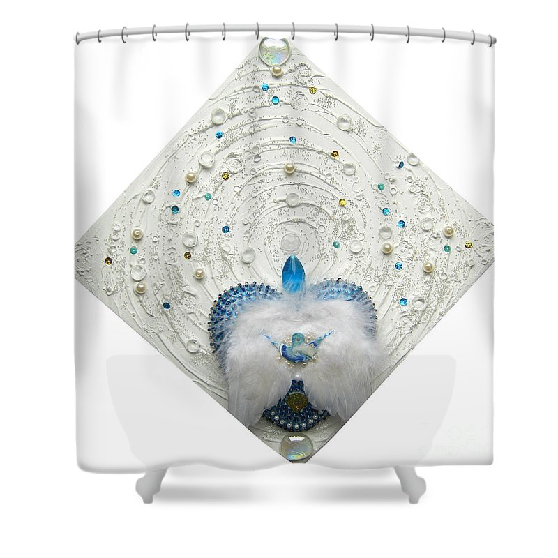 Angel Of Purity And Power Shower Curtain featuring the relief Angel Of Purity And Power by Heidi Sieber