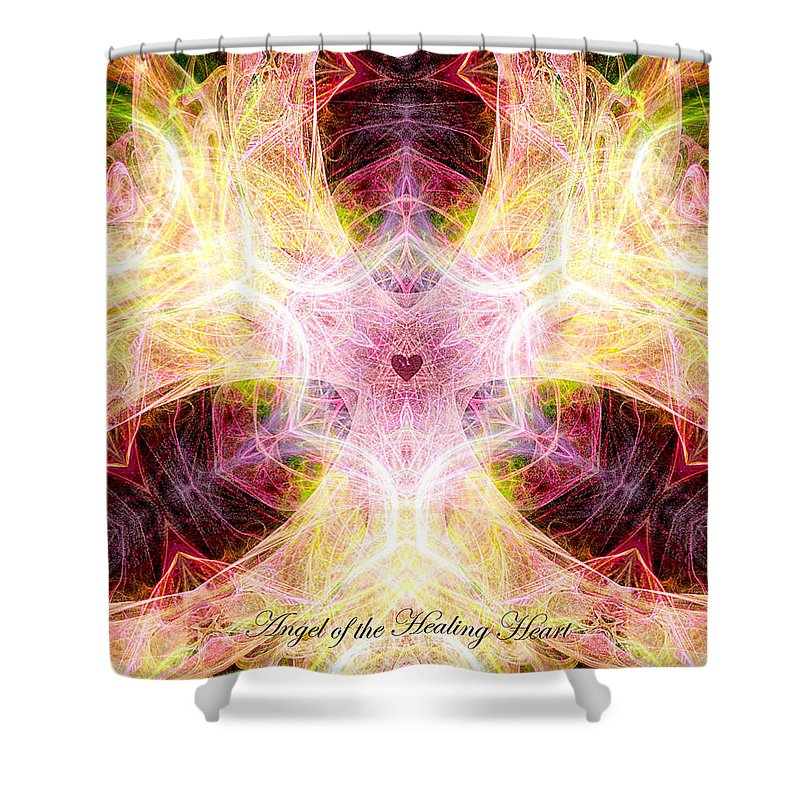 Angel Shower Curtain featuring the digital art Angel Of The Healing Heart by Diana Haronis