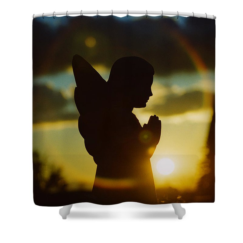 Angel Shower Curtain featuring the photograph Angel Silhouette by Gothicrow Images