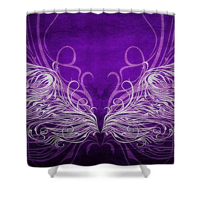 Wing Shower Curtain Featuring The Mixed Media Angel Wings Royal By Angelina Vick