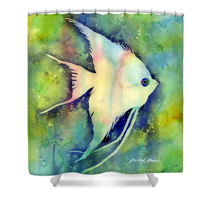 Fish Shower Curtain featuring the painting Angelfish I by Hailey E Herrera