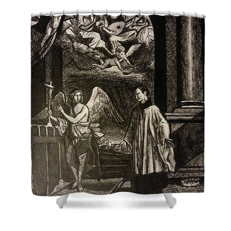 Shower Curtain featuring the painting Angels And Saints by Jude Darrien