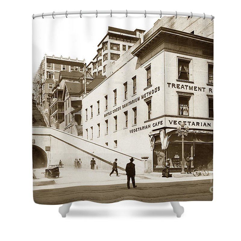 Angel's Flight Shower Curtain featuring the photograph Angel's Flight Railway Los Angeles California Circa 1908 by California Views Mr Pat Hathaway Archives