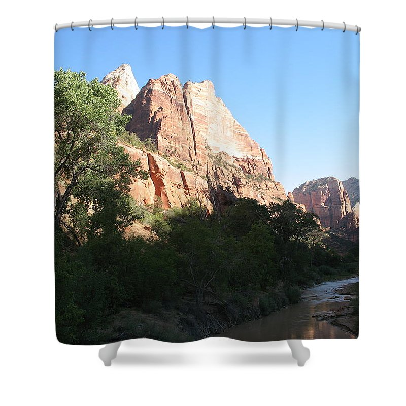Mountians Shower Curtain featuring the photograph Angels Landing And Virgin River - Zion Np by Christiane Schulze Art And Photography