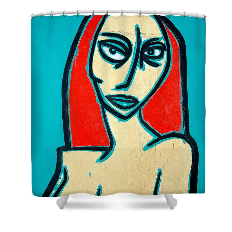 Oil Shower Curtain featuring the painting Angry Jen by Thomas Valentine