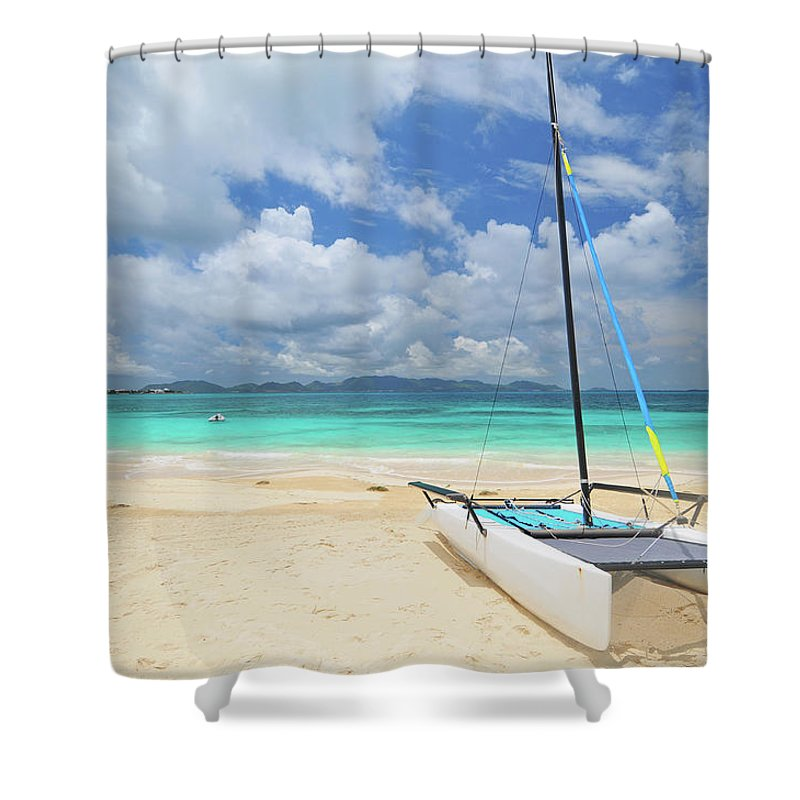 Sailboat Shower Curtain featuring the photograph Anguilla Beach by Maxian