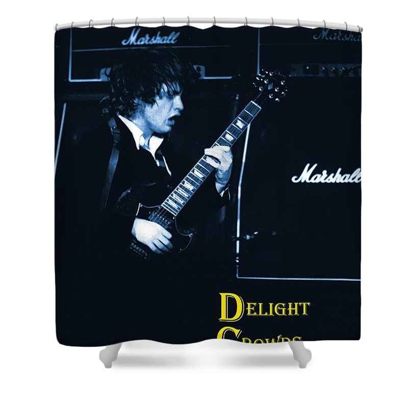Angus Young Shower Curtain featuring the photograph Angus Chords Delight Crowds In Blue by Ben Upham