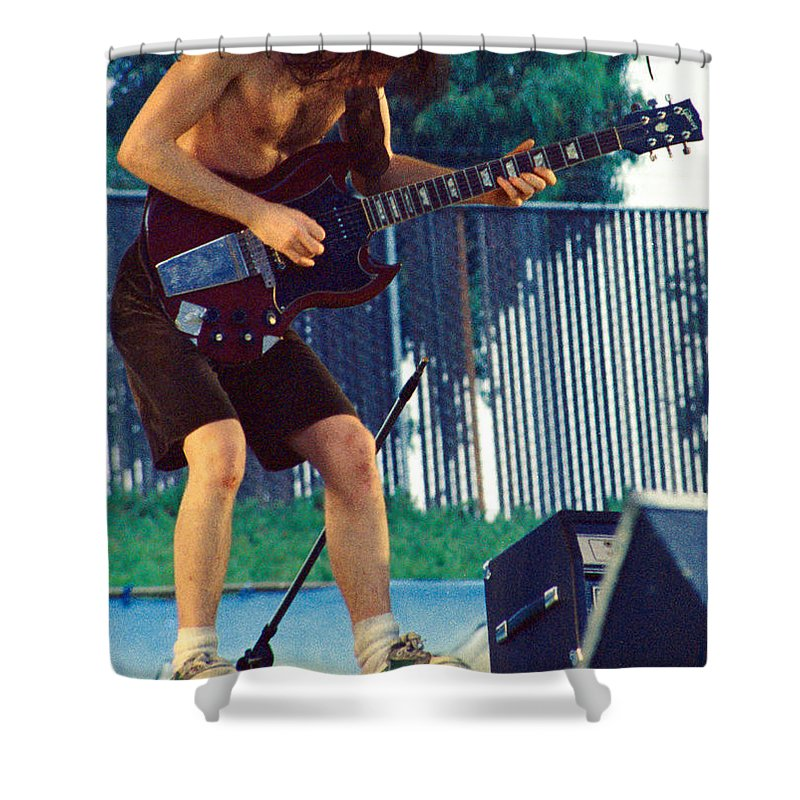Angus Young Shower Curtain featuring the photograph Angus Young Of A C D C At Day On The Green Monsters Of Rock by Daniel Larsen
