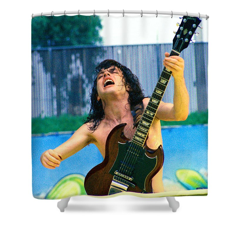 Angus Young Shower Curtain featuring the photograph Angus Young Of A C D C At Day On The Green Monsters Of Rock 7-21-79 by Daniel Larsen