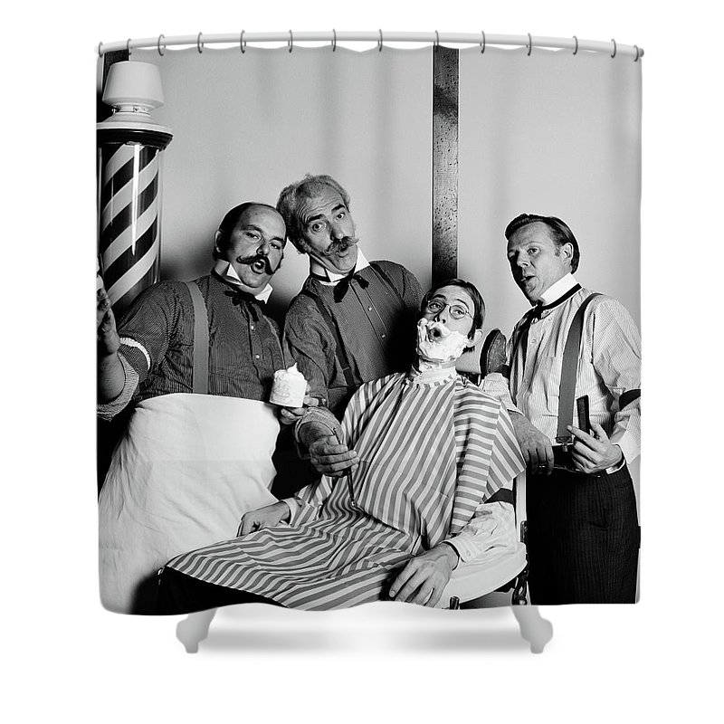 Photography Shower Curtain Featuring The Photograph Animated Barbershop Quartet Singing By Vintage Images
