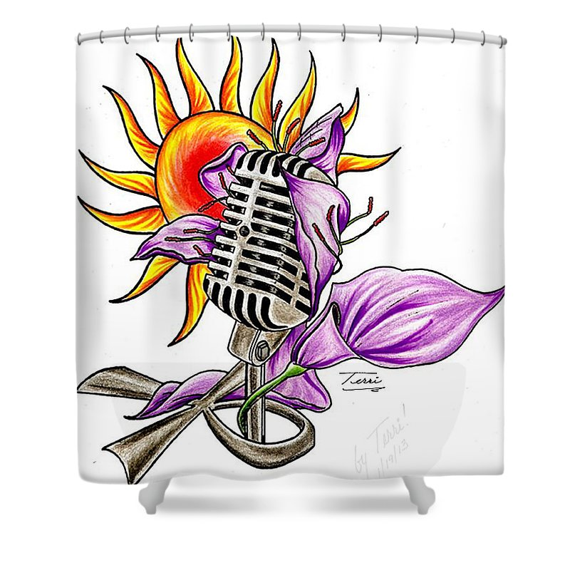 Ankh Shower Curtain featuring the drawing Ankhlight by Terri Meredith