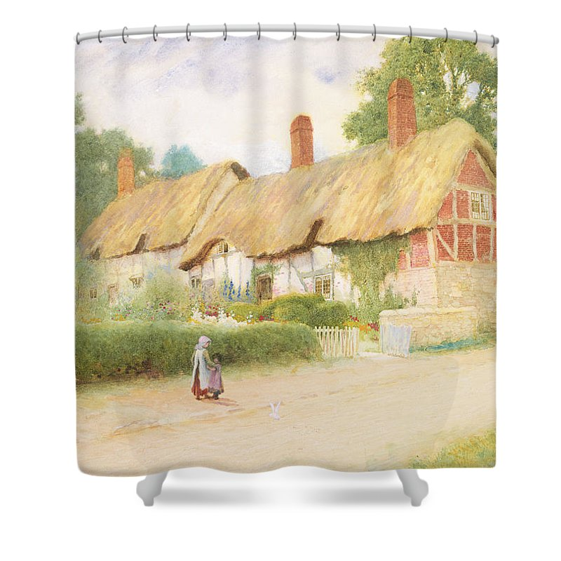 Tudor Shower Curtain featuring the painting Ann Hathaway's Cottage by Arthur Claude Strachan