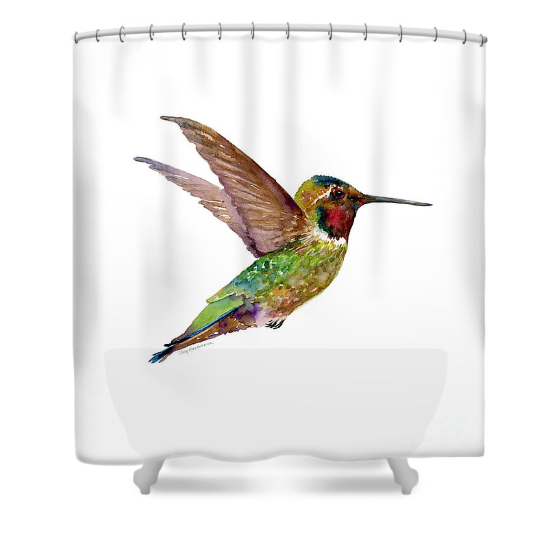 Bird Shower Curtain Featuring The Painting Anna Hummingbird By Amy Kirkpatrick