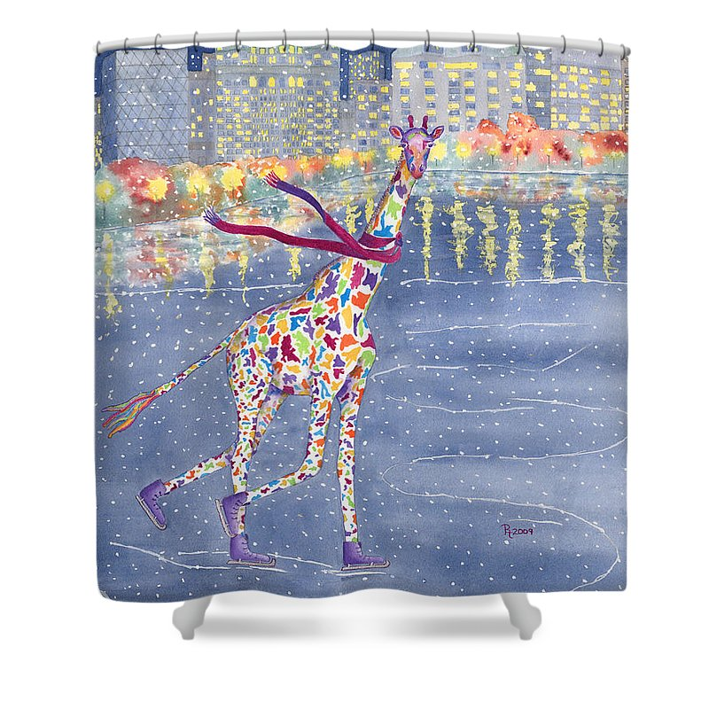 Giraffe Shower Curtain featuring the painting Annabelle On Ice by Rhonda Leonard