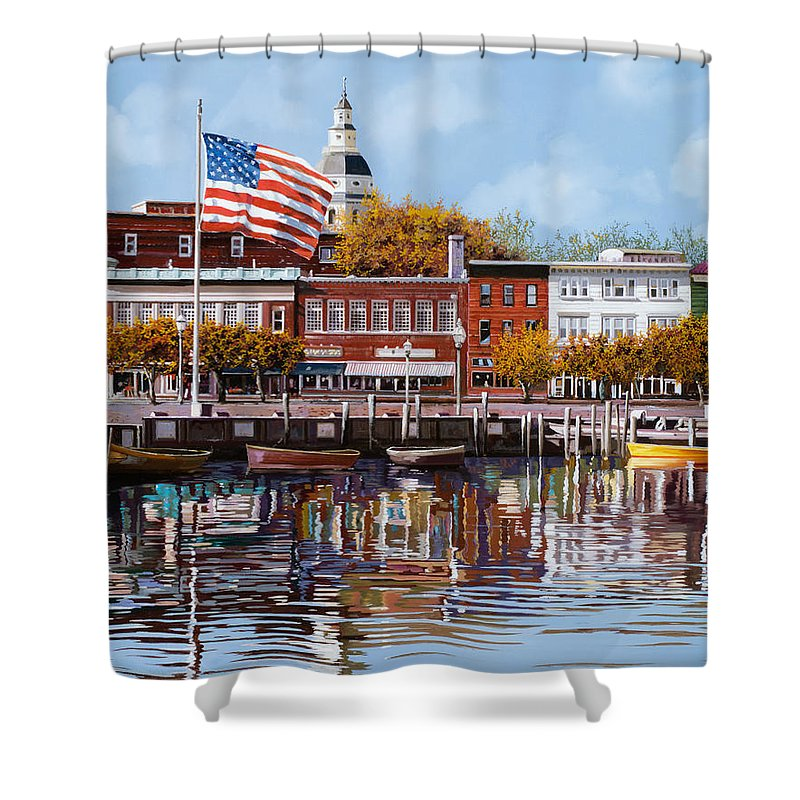 Annapolis Shower Curtain featuring the painting Annapolis by Guido Borelli