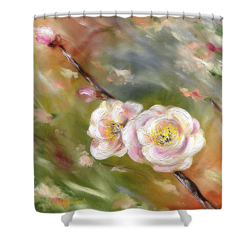 Flower Shower Curtain featuring the painting Anniversary by Hiroko Sakai