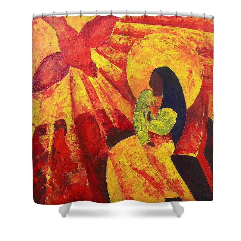 Haiti Shower Curtain featuring the painting Annunciation by Patricia Brintle