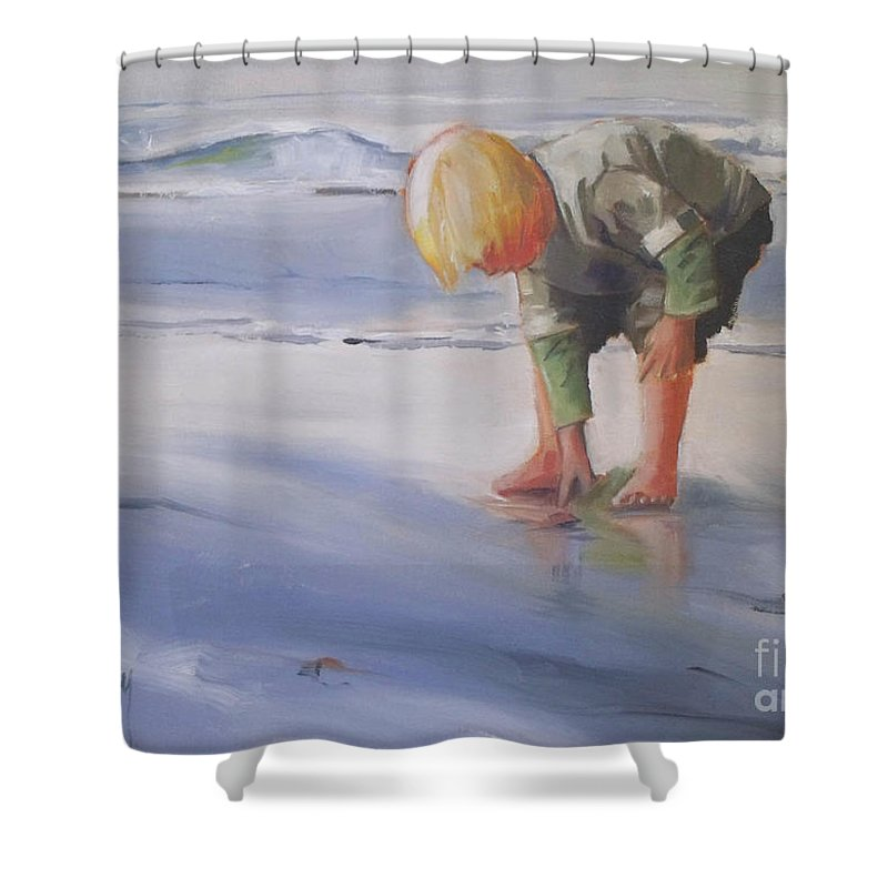 Doodlefly Shower Curtain featuring the painting Another Great Shell by Mary Hubley