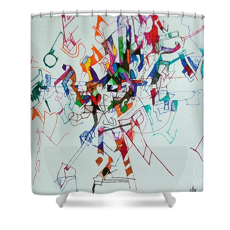 Torah Shower Curtain featuring the drawing Answers According To The Halacha 3 by David Baruch Wolk