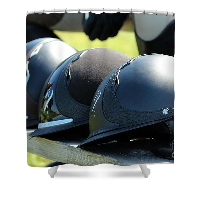 Horse Shower Curtain featuring the photograph Antares Helmets by Janice Byer