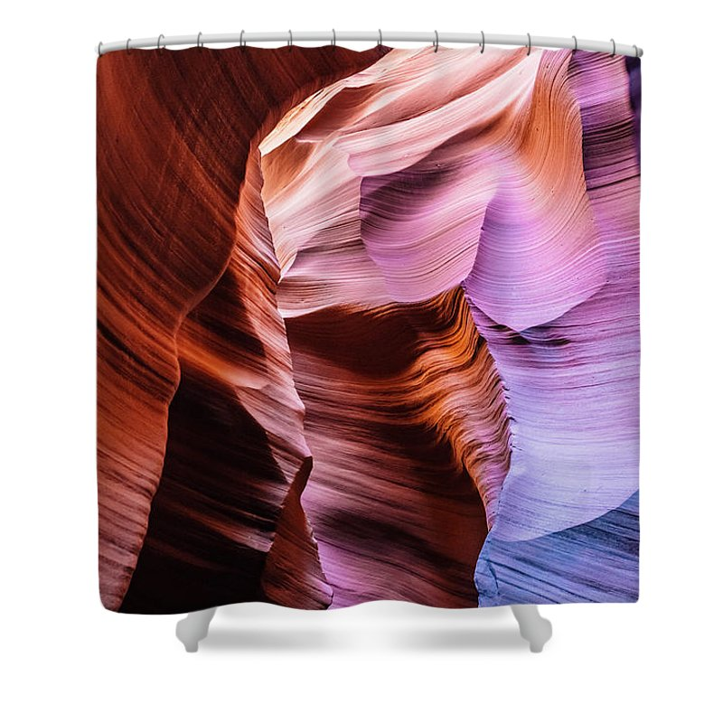 Curve Shower Curtain featuring the photograph Antelope Canyon Spiral Rock Arches by Deimagine