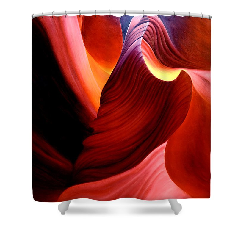 Antelope Canyon Shower Curtain featuring the painting Antelope Magic by Anni Adkins