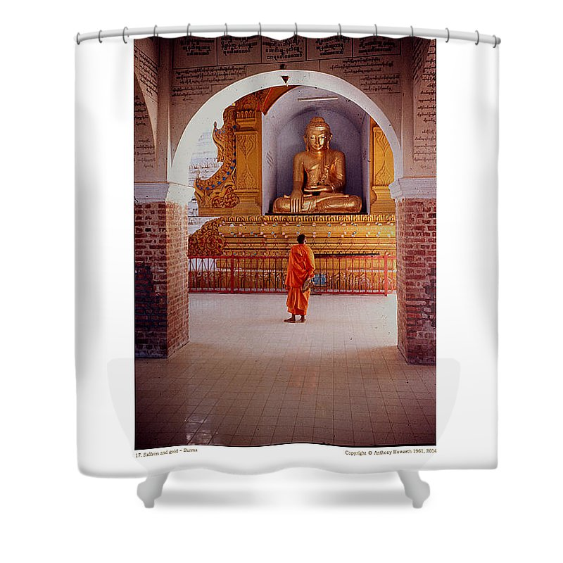 Anthony Shower Curtain featuring the photograph Anthony Howarth Collection - Gold - Saffron And Gold - Burma by Anthony Howarth