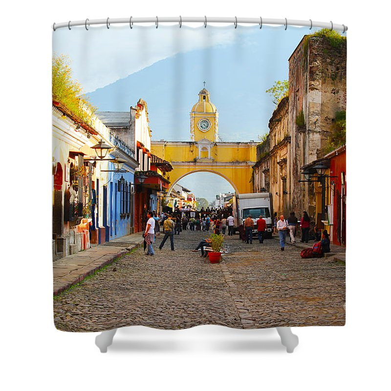 Guatemala Shower Curtain featuring the photograph Antigua Guatemala clock by Carey Chen