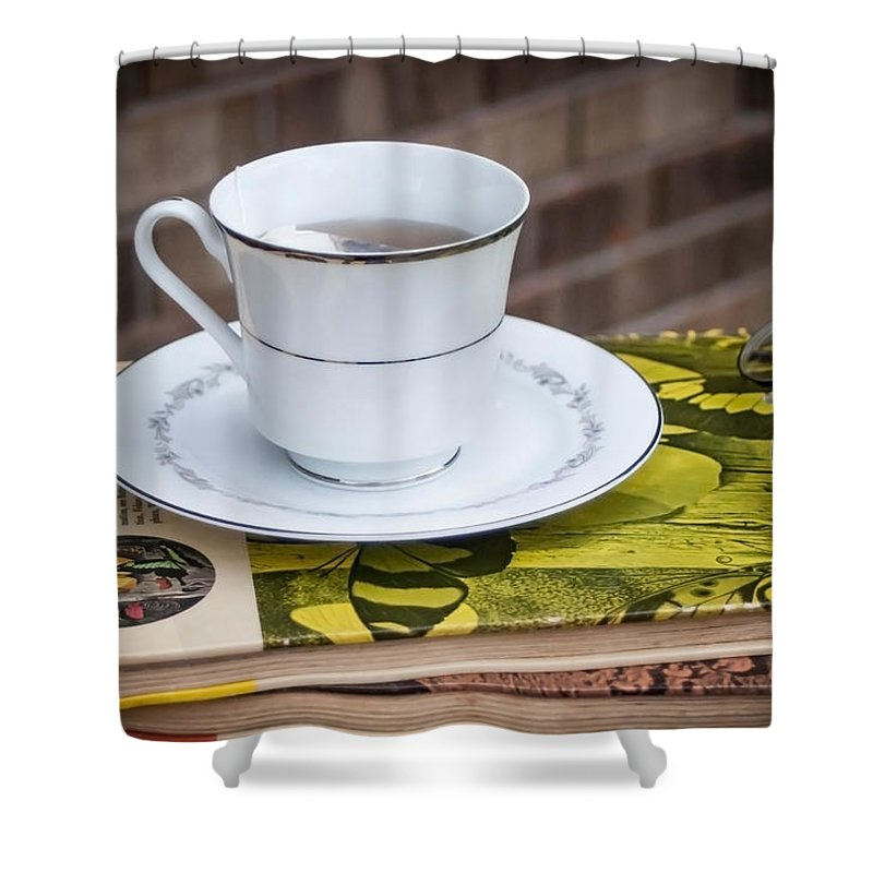 Antique Books And Tea Shower Curtain featuring the photograph Antique Books And Tea by Mechala Matthews